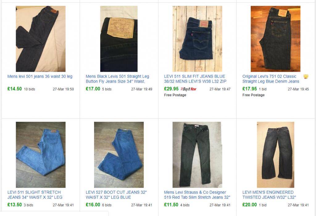 levi jeans sales on ebay
